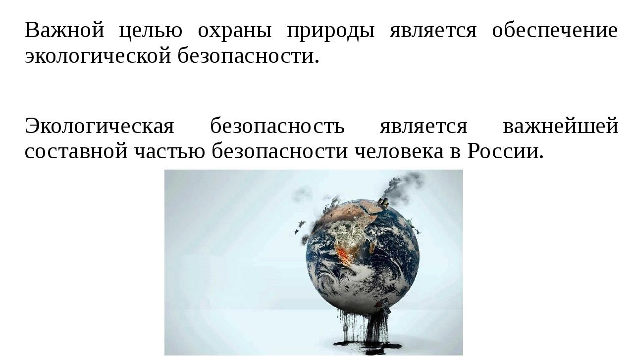 Важной целью охраны природы является обеспечение экологической безопасности....