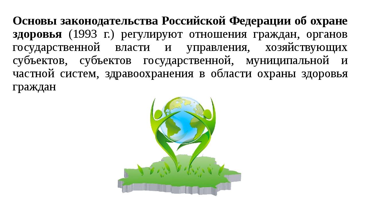 Основы законодательства Российской Федерации об охране здоровья (1993 г.) рег...