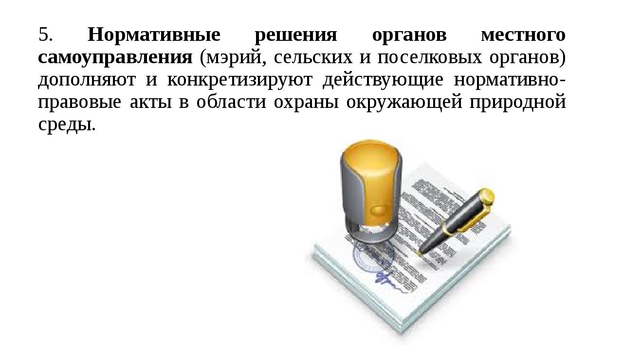 5. Нормативные решения органов местного самоуправления (мэрий, сельских и пос...