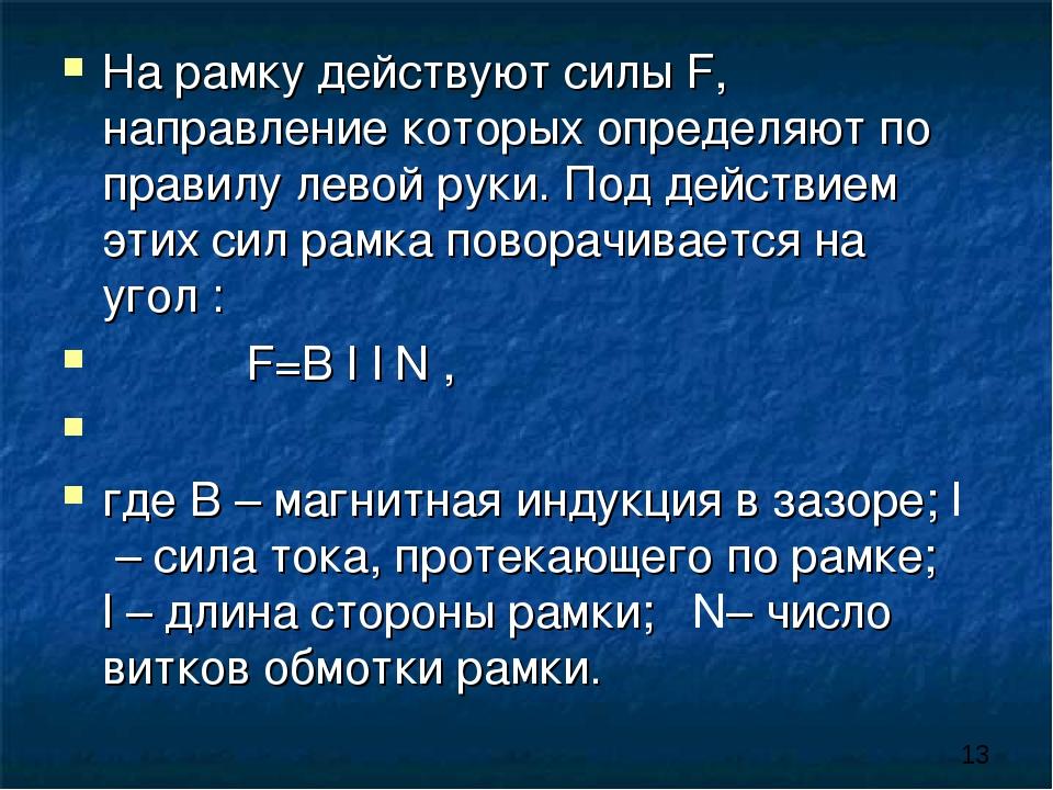 На рамку действуют силы F, направление которых определяют по правилу левой ру...