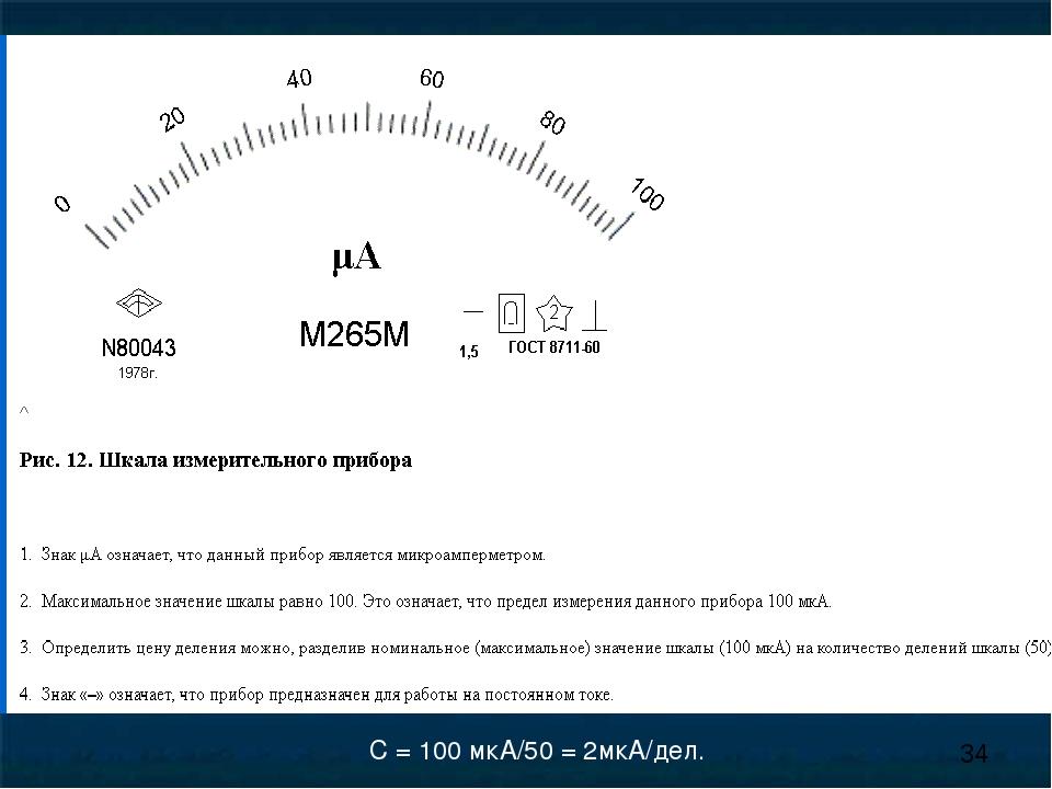 С = 100 мкА/50 = 2мкА/дел.
