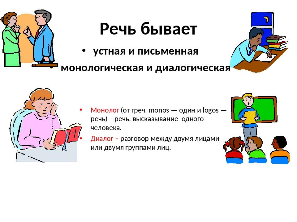 Речь бывает устная и письменная монологическая и диалогическая Монолог (от гр...