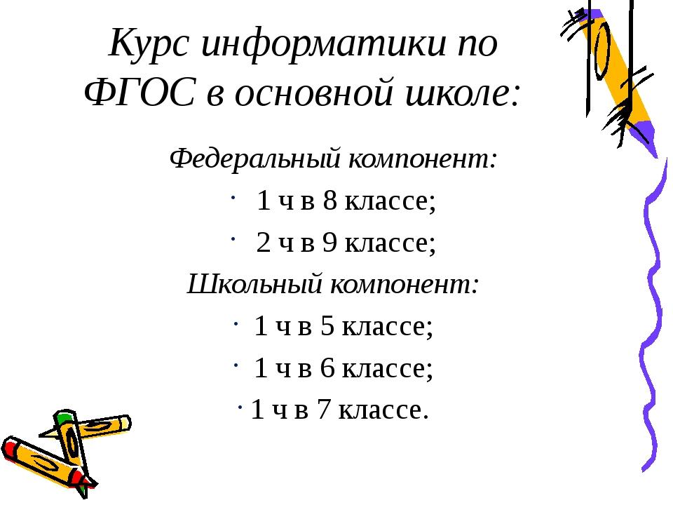 Курс информатики по ФГОС в основной школе: Федеральный компонент: 1 ч в 8 кла...
