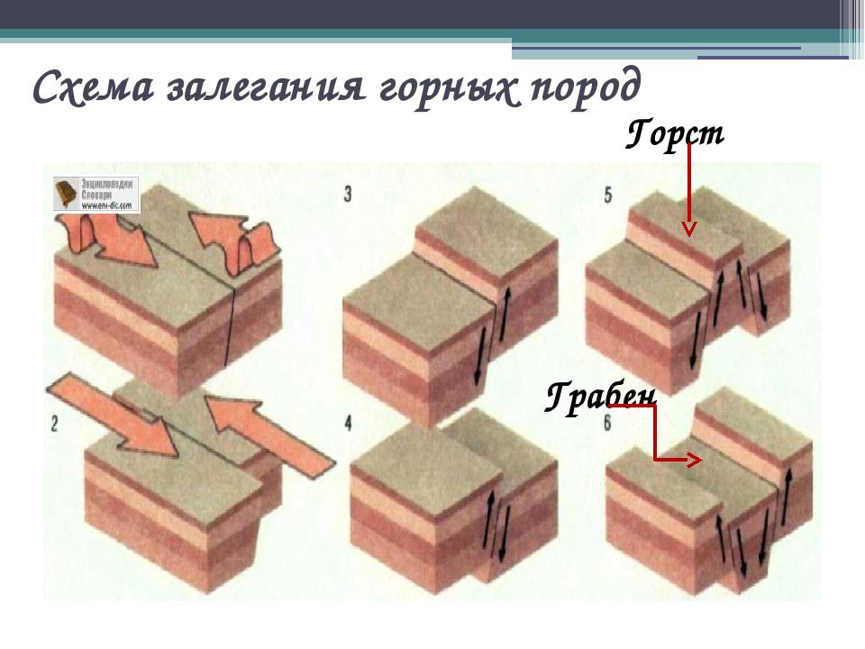 Схема залегания горных пород Горст Грабен