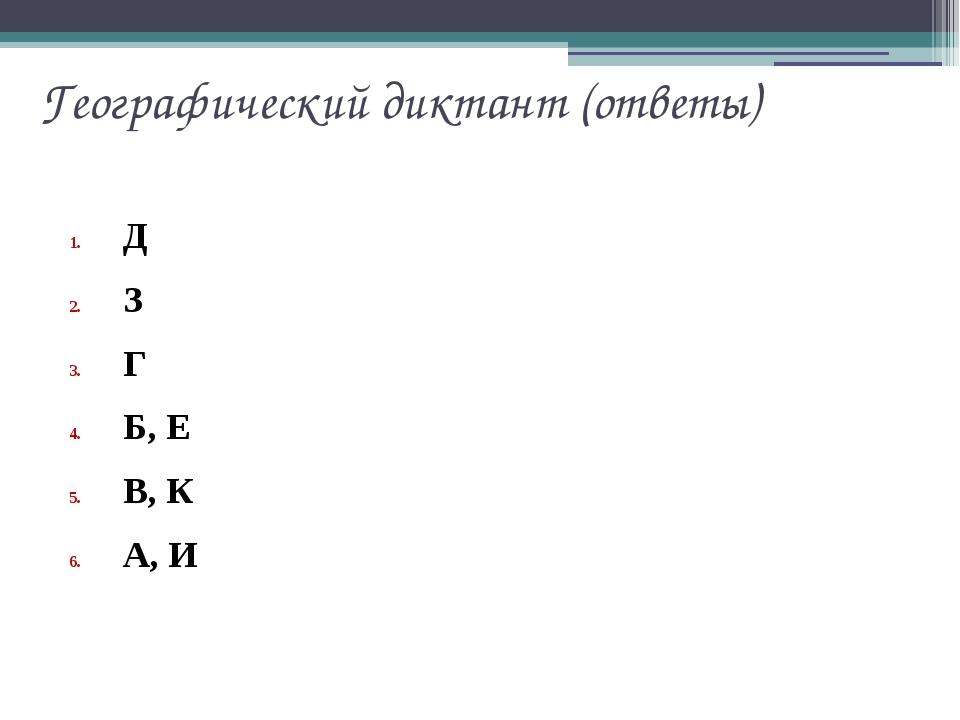Географический диктант (ответы) Д З Г Б, Е В, К А, И