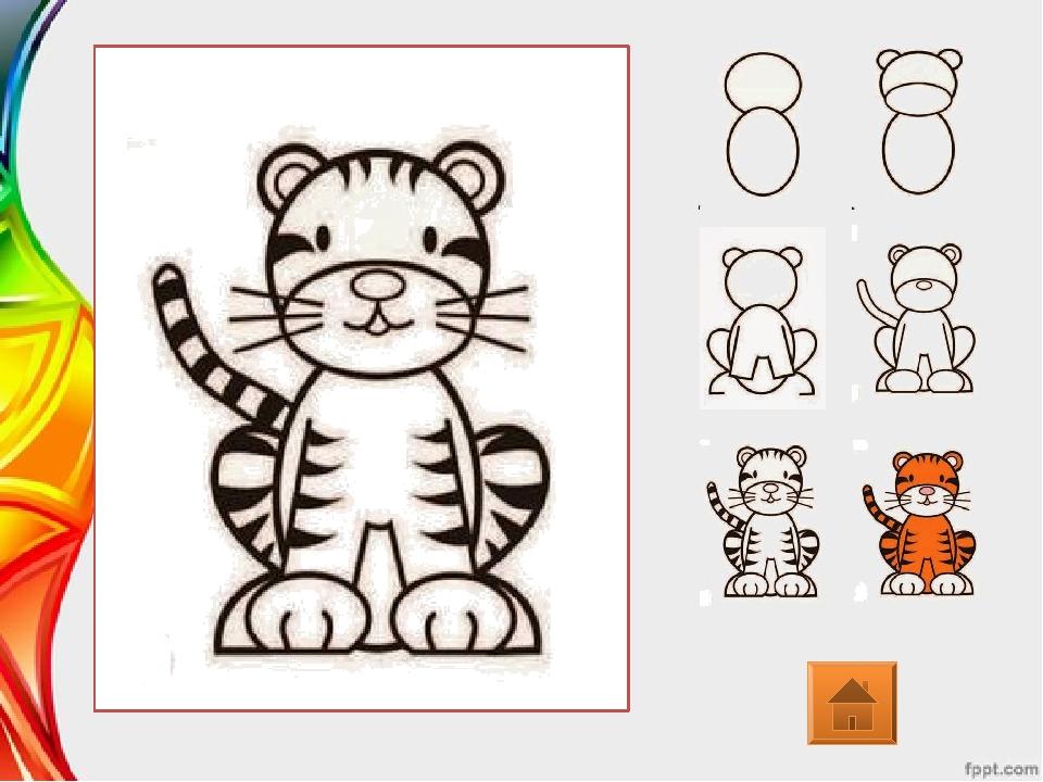 Тигренок рисунок для детей поэтапно