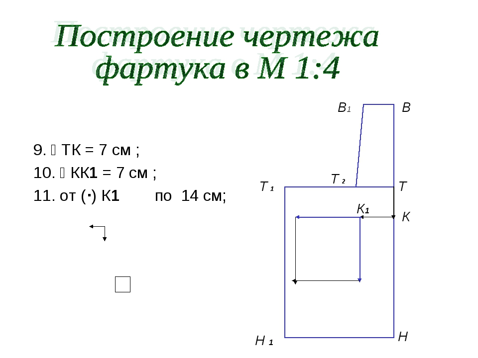 9.  ТК = 7 см ; 10.  КК1 = 7 см ; 11. от () К1 по 14 см; Т 1 В Т Н В1 Т 2...