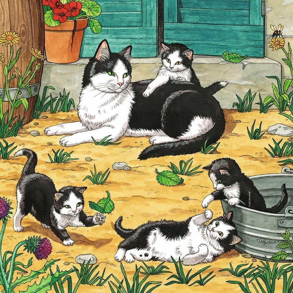 рассказ по картинке кошка с котятами средняя группа машенька