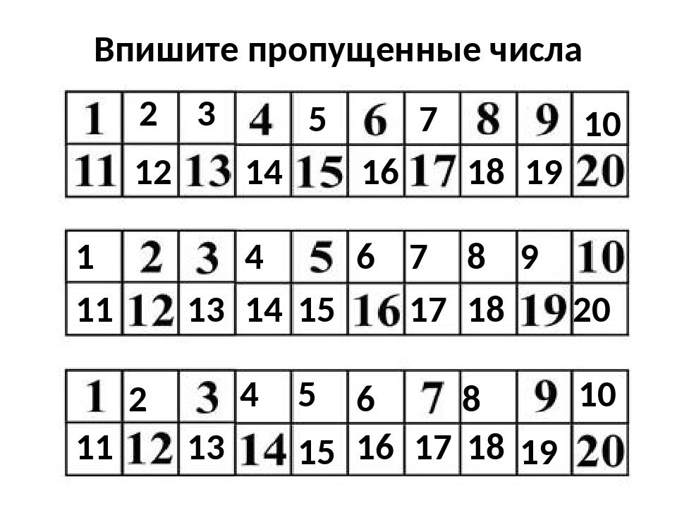 Впишите пропущенные числа 2 3 18 5 7 12 16 14 10 19 6 11 15 1 4 14 13 7 9 8 1...
