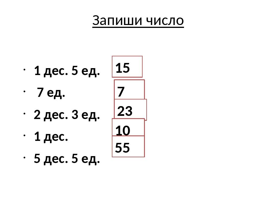 Запиши число 1 дес. 5 ед. 7 ед. 2 дес. 3 ед. 1 дес. 5 дес. 5 ед. 15 7 23 10 55