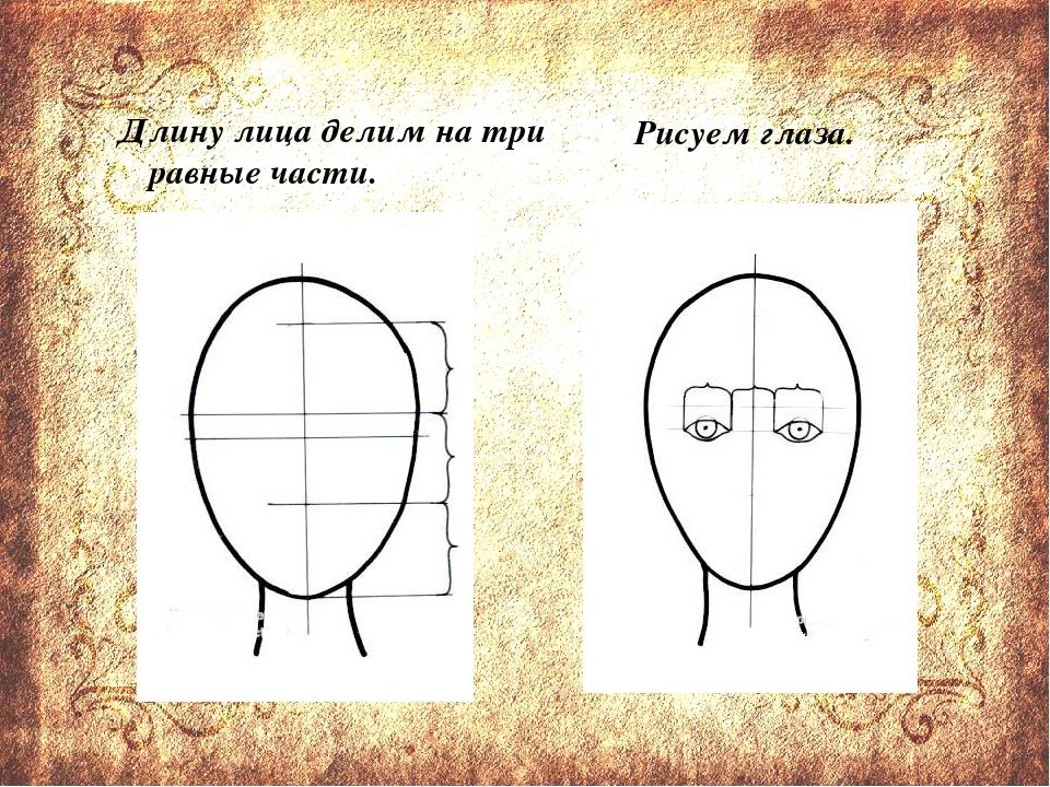 Длину лица делим на три равные части. Рисуем глаза.