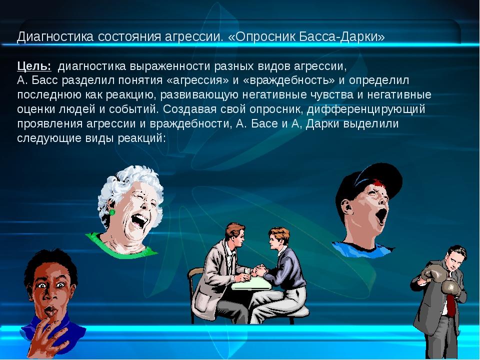 Диагностика состояния агрессии. «Опросник Басса-Дарки» Цель: диагностика выра...