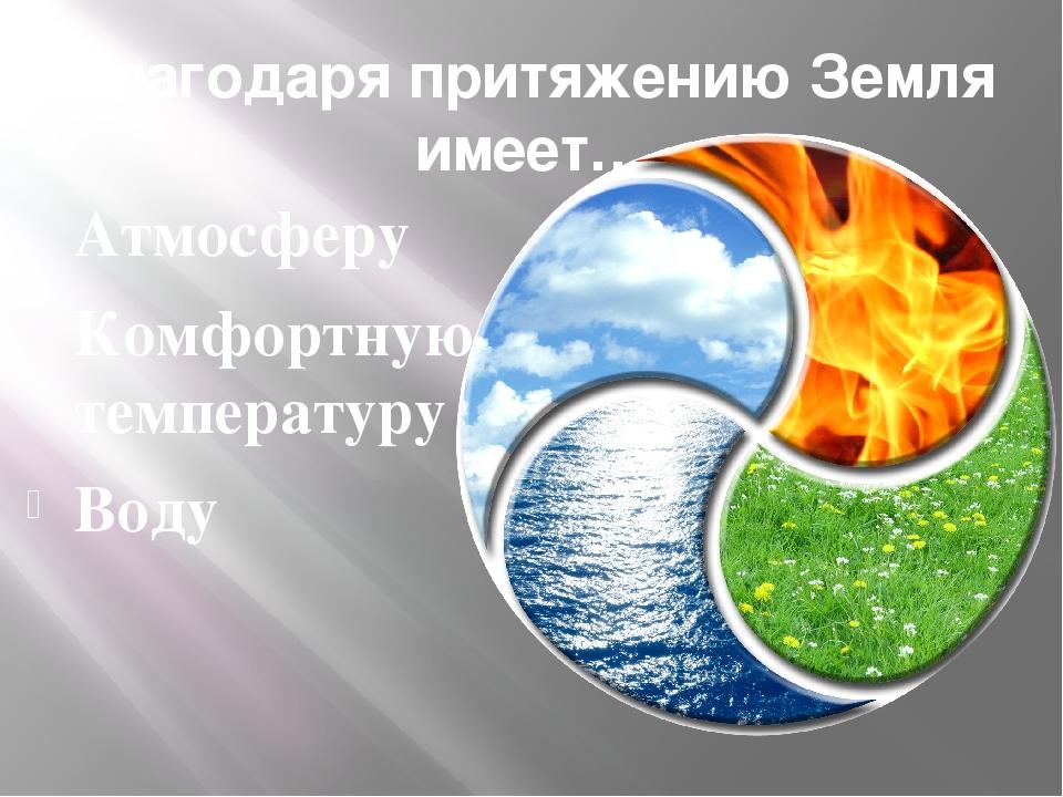 Благодаря притяжению Земля имеет… Атмосферу Комфортную температуру Воду